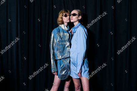 Stock Image of Models pose backstage prior to the presentation of the Women Spring/Summer 2020 collection by Belgian designer Glenn Martens for Y/Project during the Paris Fashion Week, in Paris, France, 26 September 2019. The presentation of the Women's collections runs from 23 September to 01 October.