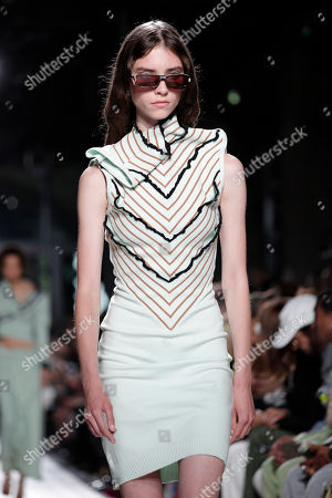 A model presents a creation for the Women Spring/Summer 2020 collection  by Belgian designer Glenn Martens for Y/Project during the Paris Fashion Week, in Paris, France, 26 September 2019. The presentation of the Women's collections runs from 23 September to 01 October.
