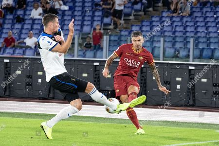Stock Picture of Aleksander Kolarov of AS Roma seen in action during the Serie A match between AS Roma and Atalanta at Olimpico Stadium.