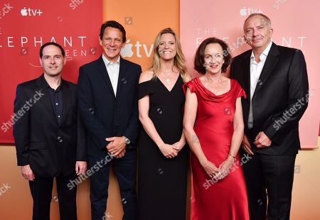 In recognition of Apple's commitment to protecting the planet, Alex Heffes, Etienne Oliff, Lucinda Englehart, Victoria Stone, and Mark Deeble, attend the premiere of Apple's acclaimed documentary, 'The Elephant Queen', at The Metrograph in New York on September 25, 2019.