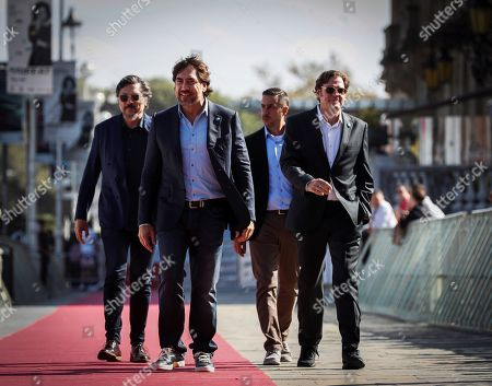 Stock Image of Javier Bardem (2-L) and Carlos Bardem (L) and filmmaker Alvaro Longoria (R) attend the premiere of the documentary film 'Sanctuary' at the 67th edition of the San Sebastian International Film Festival (SSIFF) in San Sebastian, Basque Country, Spain, 26 September 2019. The festival runs from 20 to 28 September.