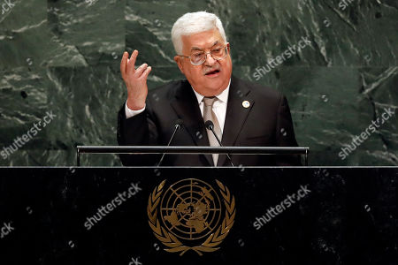 Stock Image of Palestinian President Mahmoud Abbas addresses the 74th session of the United Nations General Assembly