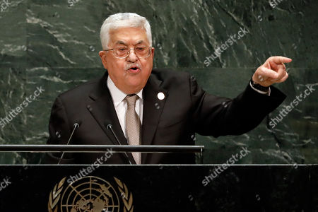 Palestinian President Mahmoud Abbas addresses the 74th session of the United Nations General Assembly