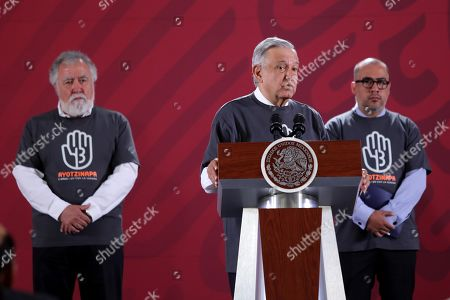 The Under Secretary of Human Rights Alejandro Encinas (L), Mexican President Andres Manuel Lopez Obrador (C) and prosecutor of the Ayotzinapa case Omar Gomez Trejo (R) offer a press conference in Mexico City, Mexico, 26 September 2019. The special unit of the Office of the Prosecutor of Mexico for the Ayotzinapa case does not rule out subpoenaing former President Enrique Pena Nieto within the repeated investigation into the disappearance of the 43 students of the Ayotzinapa school.