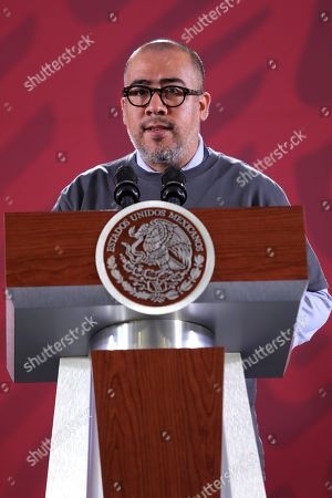 Stock Image of The prosecutor of the Ayotzinapa case Omar Gomez Trejo speaks during a press conference in Mexico City, Mexico, 26 September 2019.The special unit of the Office of the Prosecutor of Mexico for the Ayotzinapa case does not rule out subpoenaing former President Enrique Pena Nieto within the repeated investigation into the disappearance of the 43 students of the Ayotzinapa school.