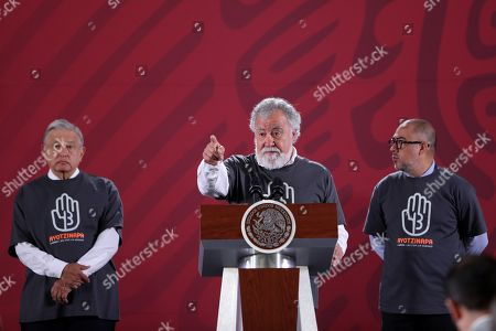 The Under Secretary of Human Rights Alejandro Encinas (C), Mexican President Andres Manuel Lopez Obrador (L) and prosecutor of the Ayotzinapa case Omar Gomez Trejo (R) offer a press conference in Mexico City, Mexico, 26 September 2019. The special unit of the Office of the Prosecutor of Mexico for the Ayotzinapa case does not rule out subpoenaing former President Enrique Pena Nieto within the repeated investigation into the disappearance of the 43 students of the Ayotzinapa school.