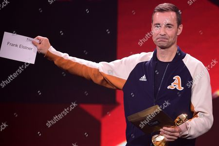 German TV Host Kai Pflaume reacts as announces German TV host Frank Elstner (not pictured) as the winner of the 'Best Newcomer' award during the 'YouTube Goldene Kamera Digital Award 2019' ceremony in Berlin, Germany, 26 September 2019. The best German web video producers are awarded at the event.