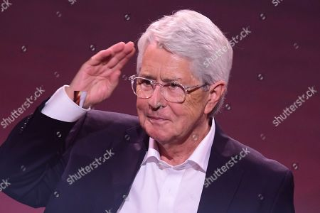 Stock Picture of German TV host Frank Elstner gestures after receiving the 'Best Newcomer' award during the 'YouTube Goldene Kamera Digital Award 2019' ceremony in Berlin, Germany, 26 September 2019. The best German web video producers are awarded at the event.