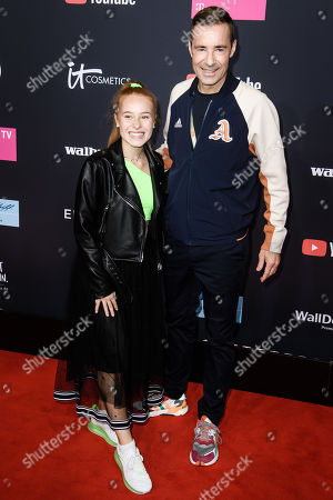 Stock Photo of Leoobalys (L) and Kai Pflaume pose on the red carpet of the 'YouTube Goldene Kamera Digital Award 2019' ceremony in Berlin, Germany, 26 September 2019. The best German web video producers will be awarded at the event.