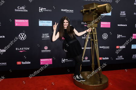 Stock Picture of Joyce Ilg poses on the red carpet of the 'YouTube Goldene Kamera Digital Award 2019' ceremony in Berlin, Germany, 26 September 2019. The best German web video producers will be awarded at the event.
