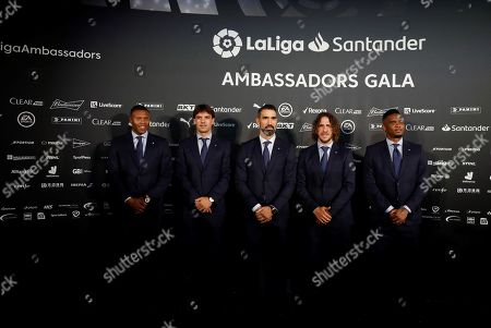 Stock Picture of (L-R) Spanish LaLiga ambassadors and former soccer players Julio Baptista, Fernando Morientes, Fernando Sanz, Carles Puyol and Samuel Eto'o pose for photographers at their arrival to LaLiga Santander Ambassador's Gala, in Madrid, Spain, 26 September 2019.
