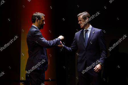 Spanish LaLiga ambassadors and former soccer players Robert Pires (L) and Fernando Redondo (R) take part in LaLiga Santander Ambassador's Gala, in Madrid, Spain, 26 September 2019.