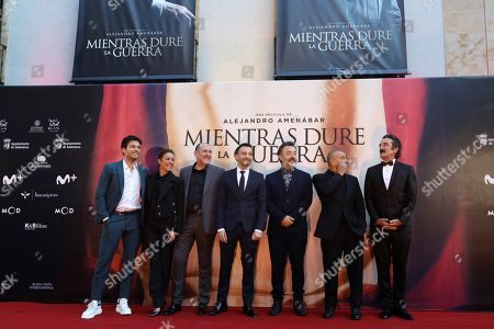 Alejandro Amenabar (C) and actors/cast members Carlos Serrano-Clark (L), Patricia Lopez Arnaiz (2-L), Karra Elejalde (3-L), Santi Prego (3-R), Eduard Fernandez (2-R) and Luis Zahera (R) attend the premiere of the movie 'While at War' at the Liceo Theatre in Salamanca, Spain, 26 September 2019.