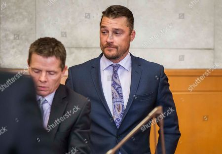 """Former """"Bachelor"""" star Chris Soules appears for a hearing in Buchanan County District Court on Monday, Nov. 27, 2017, in Independence, Iowa. Lawyers for Soules' have asked a judge to dismiss the charge against him stemming from his rear-end crash that killed a farmer driving a tractor. (Rodney White/The Des Moines Register via AP, Pool)"""