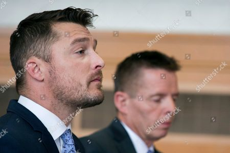 """Reality TV star Chris Soules, of """"The Bachelor,"""" left, sits in the courtroom for his sentencing on leaving-the-scene charges, Tuesday, May 21, 2019, in Independence, Iowa. (Kelly Wenzel/The Courier via AP, Pool)"""
