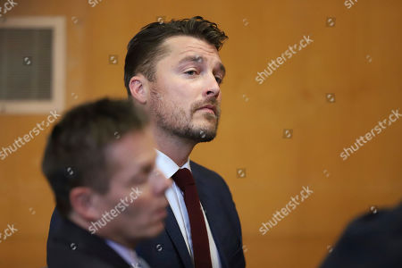 """FILE - In this Sept. 14, 2107, file photo, reality TV star Chris Soules, of """"The Bachelor,""""Â appears at a hearing in Buchanan County District Court. Lawyers for the former """"Bachelor"""" star have asked a judge to dismiss the charge against him stemming from his rear-end crash that killed a farmer driving a tractor. Defense attorney Robert Montgomery argued Monday, Nov. 27, 2017, that the charge of failing to remain at the scene of a fatal collision should be dismissed because he says Soules complied with Iowa law. (Matthew Putney/The Courier via AP, Pool, File)"""