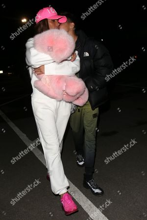 Stock Image of Katie Price and Junior Andre leaving Thorpe Park