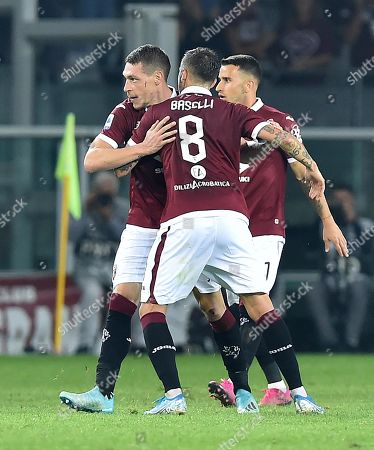 Torino's Andrea Belotti (L) celebrates with teammates after scoring during the Italian Serie A soccer match between Torino FC and AC Milan at the Olimpico Grande Torino stadium in Turin, Italy, 26 September 2019.
