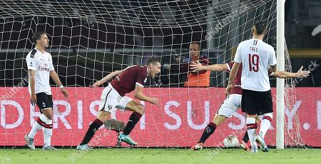 Torino's Andrea Belotti (C) celebrates after scoring his second goal during the Italian Serie A soccer match between Torino FC and AC Milan at the Olimpico Grande Torino stadium in Turin, Italy, 26 September 2019.