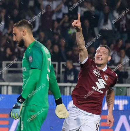 Torino's Andrea Belotti (R) celebrates after scoring his second goal during the Italian Serie A soccer match between Torino FC and AC Milan at the Olimpico Grande Torino stadium in Turin, Italy, 26 September 2019.