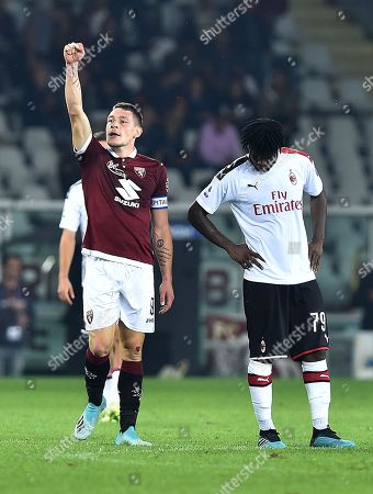 Torino's Andrea Belotti (C) celebrates after scoring during the Italian Serie A soccer match between Torino FC and AC Milan at the Olimpico Grande Torino stadium in Turin, Italy, 26 September 2019.
