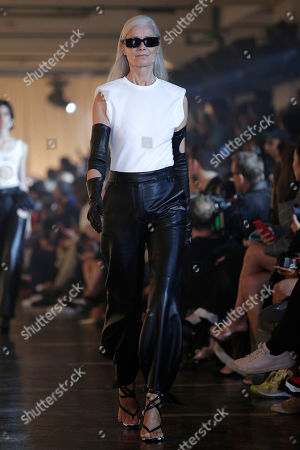 Stock Photo of A model presents a creation from the Spring/Summer 2020 collection by US designer Virgil Abloh for Off-White during the Paris Fashion Week, in Paris, France, 26 September 2019. The presentation of the Women's collections runs from 23 September to 01 October.