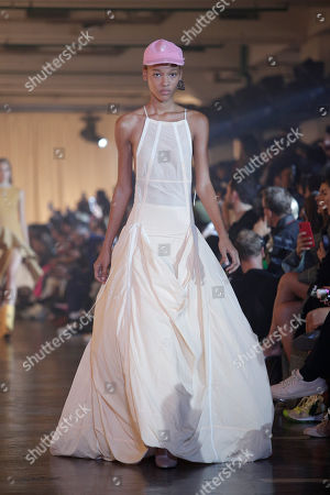 Stock Picture of A model presents a creation from the Spring/Summer 2020 collection by US designer Virgil Abloh for Off-White during the Paris Fashion Week, in Paris, France, 26 September 2019. The presentation of the Women's collections runs from 23 September to 01 October.