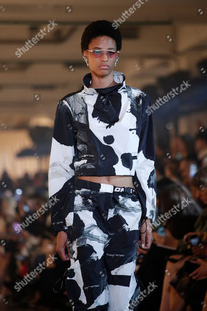A model presents a creation from the Spring/Summer 2020 collection by US designer Virgil Abloh for Off-White during the Paris Fashion Week, in Paris, France, 26 September 2019. The presentation of the Women's collections runs from 23 September to 01 October.