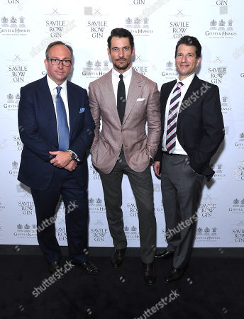 Simon Cundey, MD of Henry Poole, Savile Row Gin Brand Ambassador and Investor David Gandy and Stewart Lee, CEO & founder of Savile Row Gin