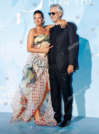 Italian singer Andrea Bocelli (R) and his wife Veronica Berti (L) attend the 3rd Monte-Carlo Gala for the Global Ocean 2019 in Monaco, 26 September 2019. The Monte Carlo Gala for the Global Ocean, hosted by the Prince Albert II of Monaco Foundation, is a fundraising auction, to support the foundation's marine conservation initiatives.