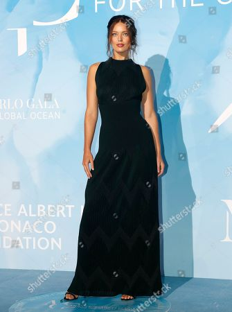 US model Emily DiDonato attends the 3rd Monte-Carlo Gala for the Global Ocean 2019 in Monaco, 26 September 2019. The Monte Carlo Gala for the Global Ocean, hosted by the Prince Albert II of Monaco Foundation, is a fundraising auction, to support the foundation's marine conservation initiatives.
