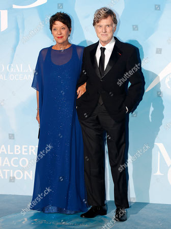 US actor Robert Redford (R) and his wife Sibylle Szaggars (L) attend the 3rd Monte-Carlo Gala for the Global Ocean 2019 in Monaco, 26 September 2019. The Monte Carlo Gala for the Global Ocean, hosted by the Prince Albert II of Monaco Foundation, is a fundraising auction, to support the foundation's marine conservation initiatives.