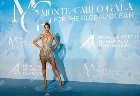 US model Jasmine Sanders attends the 3rd Monte-Carlo Gala for the Global Ocean 2019 in Monaco, 26 September 2019. The Monte Carlo Gala for the Global Ocean, hosted by the Prince Albert II of Monaco Foundation, is a fundraising auction, to support the foundation's marine conservation initiatives.