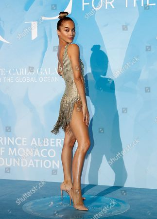 Stock Photo of US model Jasmine Sanders attends the 3rd Monte-Carlo Gala for the Global Ocean 2019 in Monaco, 26 September 2019. The Monte Carlo Gala for the Global Ocean, hosted by the Prince Albert II of Monaco Foundation, is a fundraising auction, to support the foundation's marine conservation initiatives.