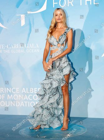 Norwegian model Frida Aasen attends the 3rd Monte-Carlo Gala for the Global Ocean 2019 in Monaco, 26 September 2019. The Monte Carlo Gala for the Global Ocean, hosted by the Prince Albert II of Monaco Foundation, is a fundraising auction, to support the foundation's marine conservation initiatives.