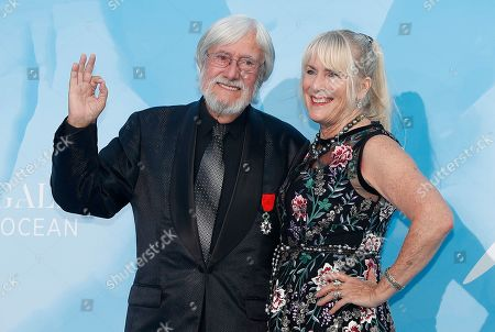 French oceanographic explorer Jean-Michel Cousteau (L) and Nancy Marr (R) attend the 3rd Monte-Carlo Gala for the Global Ocean 2019 in Monaco, 26 September 2019. The Monte Carlo Gala for the Global Ocean, hosted by the Prince Albert II of Monaco Foundation, is a fundraising auction, to support the foundation's marine conservation initiatives.
