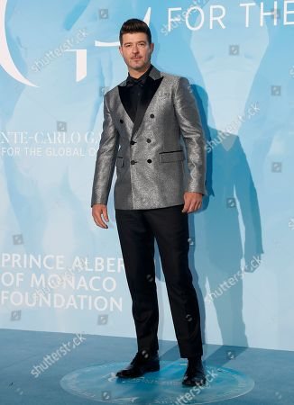 US musician Robin Thicke attends the 3rd Monte-Carlo Gala for the Global Ocean 2019 in Monaco, 26 September 2019. The Monte Carlo Gala for the Global Ocean, hosted by the Prince Albert II of Monaco Foundation, is a fundraising auction, to support the foundation's marine conservation initiatives.