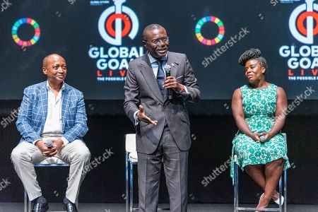 Stock Picture of Patrice Motsepe, Babajide Sanwo-Olu and Uzo Aduba