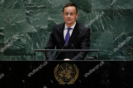 Stock Image of Hungarian Minister of Foreign Affairs and Trade Peter Szijjarto addresses the 74th session of the United Nations General Assembly, at the U.N. headquarters