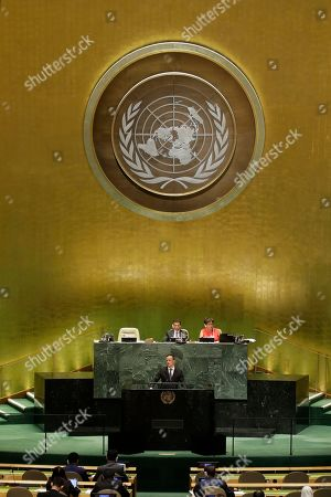 Hungarian Minister of Foreign Affairs and Trade Peter Szijjarto addresses the 74th session of the United Nations General Assembly, at the U.N. headquarters