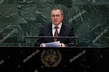 Belarus Foreign Minister Vladimir Makei addresses the 74th session of the United Nations General Assembly, at the United Nations headquarters