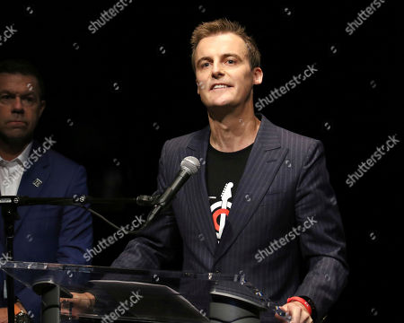 """Hugh Evans participates in the Global Citizens """"Global Goal Live: The Possible Dream"""" press conference at St. Ann's Warehouse, in New York"""