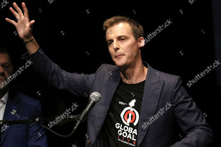 """Stock Picture of Hugh Evans participates in the Global Citizens """"Global Goal Live: The Possible Dream"""" press conference at St. Ann's Warehouse, in New York"""