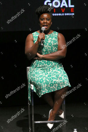 "Uzo Aduba participates in the Global Citizens ""Global Goal Live: The Possible Dream"" press conference at St. Ann's Warehouse, in New York"