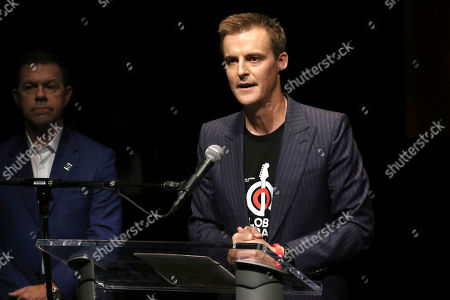 """Stock Image of Hugh Evans participates in the Global Citizens """"Global Goal Live: The Possible Dream"""" press conference at St. Ann's Warehouse, in New York"""