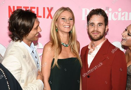 "Brad Falchuk, Gwyneth Paltrow, Ben Platt. Creator/writer/director Brad Falchuk, left, actress Gwyneth Paltrow and actor Ben Platt pose together at the premiere of Netflix's ""The Politician"" at the DGA New York Theater, in New York"