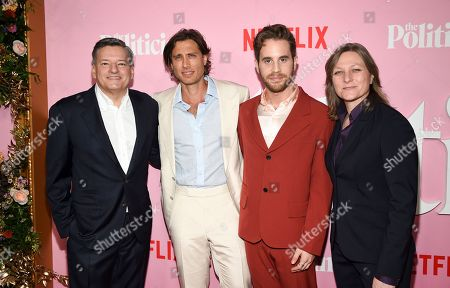 """Ted Sarandos, Brad Falchuk, Ben Platt, Cindy Holland. Netflix chief content officer Ted Sarandos, left, creator/writer/director Brad Falchuk, actor Ben Platt and Netflix vice president content acquisition and original series Cindy Holland pose together at the premiere of Netflix's """"The Politician"""" at the DGA New York Theater, in New York"""