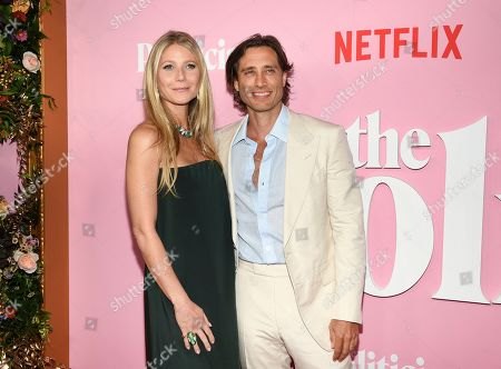"""Gwyneth Paltrow, Brad Falchuk. Actress Gwyneth Paltrow, left, and husband Brad Falchuk attends the premiere of Netflix's """"The Politician"""" at the DGA New York Theater, in New York"""