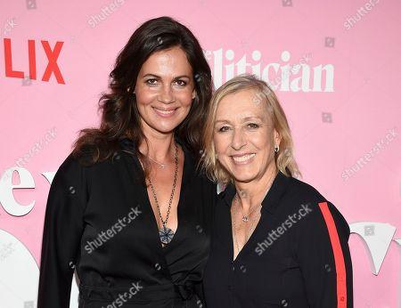 "Julia Lemigova, Martina Navratilova. Former tennis champion Martina Navratilova, right, and spouse Julia Lemigova attend the premiere of Netflix's ""The Politician"" at the DGA New York Theater, in New York"
