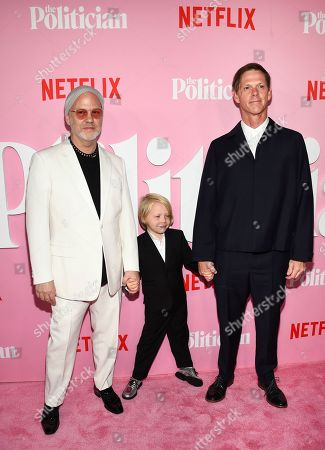 "Ryan Murphy, Logan Miller, David Miller. Creator/writer/director Ryan Murphy, left, son Logan Miller and spouse David Miller attend the premiere of Netflix's ""The Politician"" at the DGA New York Theater, in New York"
